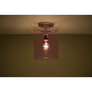 Pahu 8 Satin Nickel One-Light Semi Flush Mount with Transparent Amethyst Glass