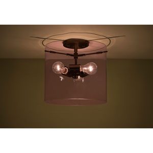 Pahu 12 Bronze Three-Light Semi Flush Mount with Transparent Amethyst Glass