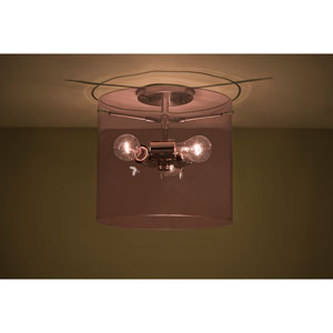 Pahu 12 Satin Nickel Three-Light Semi Flush with Transparent Amethyst Glass