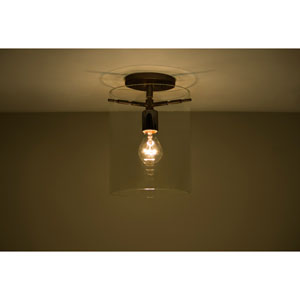 Pahu 8 Bronze One-Light Semi Flush Mount with Clear Glass