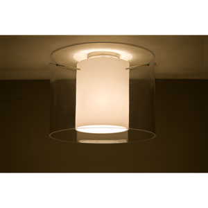 Pahu 16 Satin Nickel One-Light Semi Flush Mount with Clear and Opal Glass