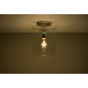 Pahu 8 Satin Nickel One-Light Semi Flush Mount with Clear Glass