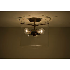 Pahu 12 Bronze Three-Light Semi Flush Mount with Clear Glass