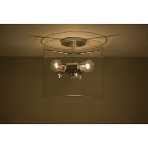Pahu 12 Satin Nickel Three-Light Semi Flush Mount with Clear Glass