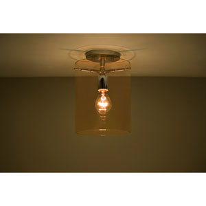 Pahu 8 Satin Nickel One-Light Semi Flush Mount with Transparent Armagnac Glass