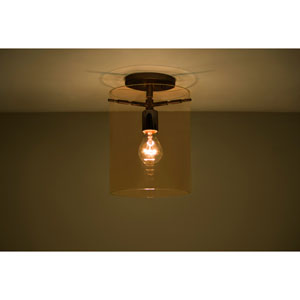 Pahu 8 Bronze One-Light Semi Flush Mount with Transparent Armagnac Glass