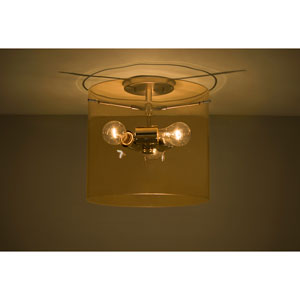 Pahu 12 Satin Nickel Three-Light Semi Flush with Transparent Armagnac Glass