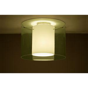 Pahu 16 Satin Nickel One-Light Semi Flush Mount with Transparent Olive Glass