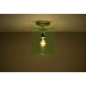 Pahu 8 Satin Nickel One-Light Semi Flush Mount with Transparent Olive Glass