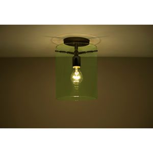 Pahu 8 Bronze One-Light Semi Flush Mount with Transparent Olive Glass
