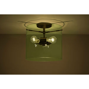 Pahu 12 Bronze Three-Light Semi Flush Mount with Transparent Olive Glass
