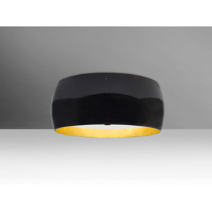 Pogo Bronze Three-Light Flush Mount with Black and Inner Gold Foil Shade