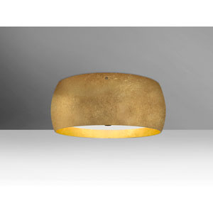 Pogo Bronze Three-Light Flush Mount with Gold and Inner Gold Foil Shade