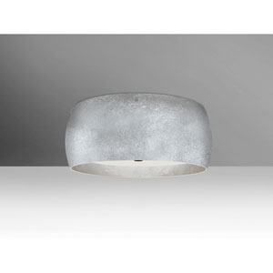 Pogo Bronze Three-Light LED Flush Mount with Silver and Inner Silver Foil Shade