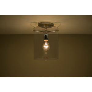Pahu 8 Satin Nickel One-Light Semi Flush Mount with Transparent Smoke Glass