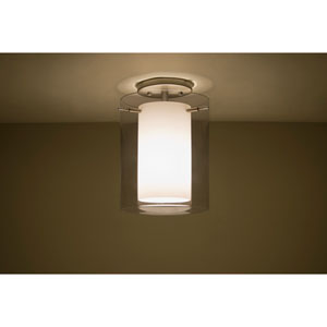 Pahu 8 Satin Nickel One-Light Semi Flush with Transparent Smoke and Opal Glass