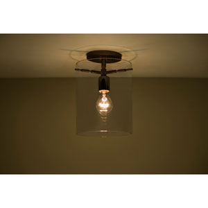 Pahu 8 Bronze One-Light Semi Flush Mount with Transparent Smoke Glass