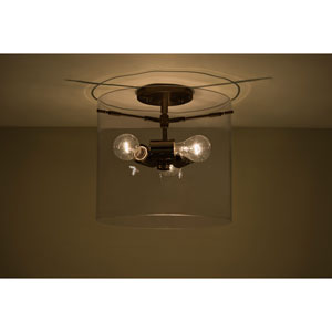 Pahu 12 Bronze Three-Light Semi Flush Mount with Transparent Smoke Glass