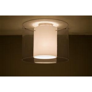 Pahu 16 Satin Nickel One-Light Semi Flush Mount with Transparent Smoke Glass