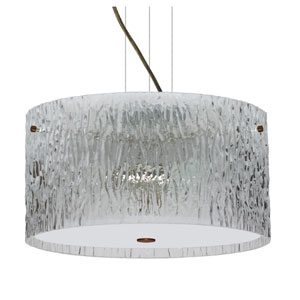 Tamburo Bronze Three-Light Incandescent 120v Mini Pendant with Flat Canopy, Cable, and Clear Stone Glass