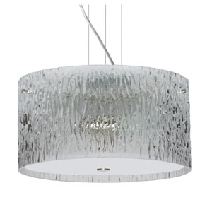 Tamburo Satin Nickel Three-Light Incandescent 120v Mini Pendant with Flat Canopy, Cable, and Clear Stone Glass