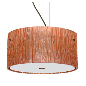 Tamburo Bronze Three-Light Incandescent 120v Mini Pendant with Flat Canopy, Cable, and Stone Copper Foil Glass