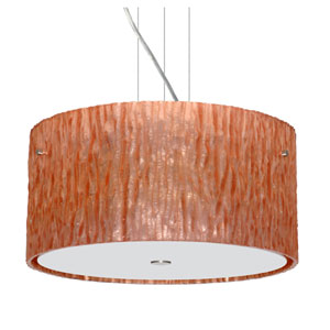 Tamburo Satin Nickel Three-Light Incandescent 120v Mini Pendant with Flat Canopy, Cable, and Stone Copper Foil Glass