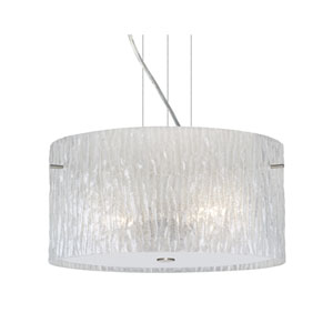 Tamburo Satin Nickel One-Light Incandescent 120v Mini Pendant with Flat Canopy, Cable, and Glitter Stone Glass