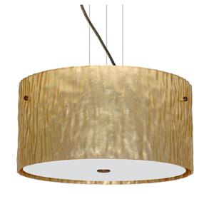 Tamburo Bronze Three-Light Incandescent 120v Mini Pendant with Flat Canopy, Cable, and Stone Gold Foil Glass