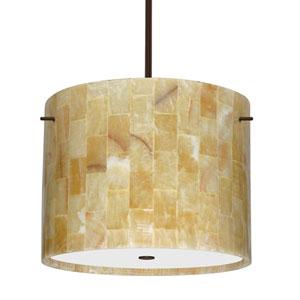 Tamburo 16 Bronze Three-Light LED Pendant with Mosaic Onyx Glass