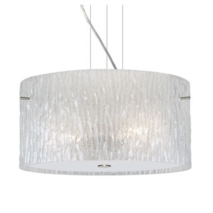 Tamburo 16v2 Satin Nickel One-Light LED Pendant with Glitter Stone Glass