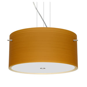 Tamburo 16v2 Satin Nickel Three-Light LED Pendant with Oak Glass