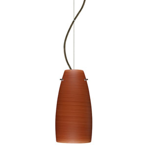 Tao Bronze One-Light Incandescent 120v Mini Pendant with Dome Canopy, Cable, and Cherry Glass