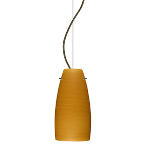 Tao Bronze One-Light Incandescent 120v Mini Pendant with Dome Canopy, Cable, and Oak Glass