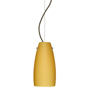 Tao Bronze One-Light Incandescent 120v Mini Pendant with Dome Canopy, Cable, and Vanilla Matte Glass