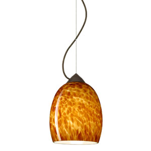 Lucia Bronze One-Light Incandescent 120v Mini Pendant with Dome Canopy, Cable, and Amber Cloud Glass