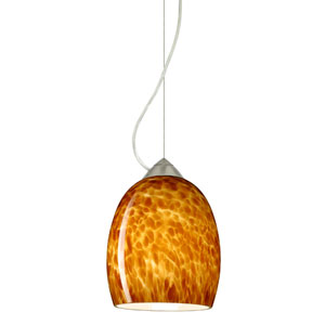 Lucia Satin Nickel One-Light Incandescent 120v Mini Pendant with Dome Canopy, Cable, and Amber Cloud Glass