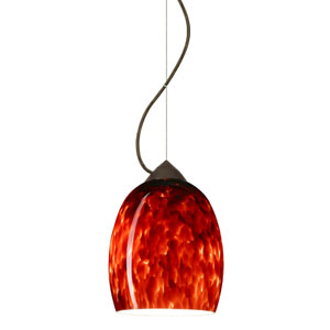 Lucia Bronze One-Light Incandescent 120v Mini Pendant with Dome Canopy, Cable, and Garnet Glass