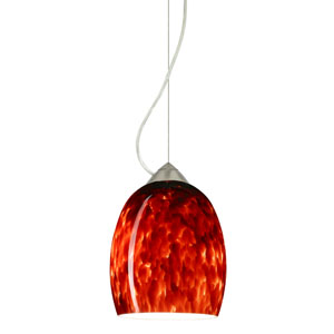 Lucia Satin Nickel One-Light Incandescent 120v Mini Pendant with Dome Canopy, Cable, and Garnet Glass