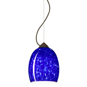 Lucia Bronze One-Light Incandescent 120v Mini Pendant with Dome Canopy, Cable, and Blue Cloud Glass