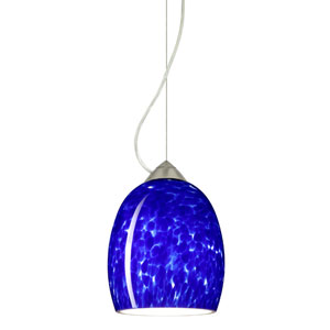 Lucia Satin Nickel One-Light Incandescent 120v Mini Pendant with Dome Canopy, Cable, and Blue Cloud Glass