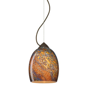 Lucia Bronze One-Light Incandescent 120v Mini Pendant with Dome Canopy, Cable, and Ceylon Glass