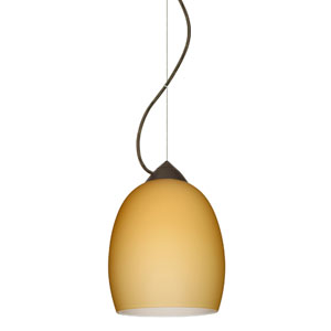 Lucia Bronze One-Light Incandescent 120v Mini Pendant with Dome Canopy, Cable, and Vanilla Matte Glass