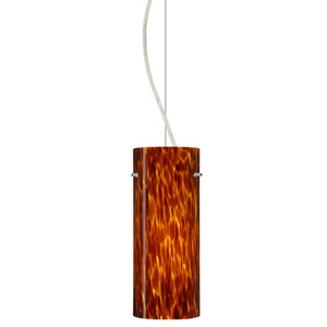 Stilo Satin Nickel One-Light Incandescent 120v Mini Pendant with Dome Canopy, Cable, and Amber Cloud Glass