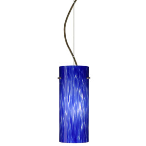 Stilo Bronze One-Light Incandescent 120v Mini Pendant with Dome Canopy, Cable, and Blue Cloud Glass