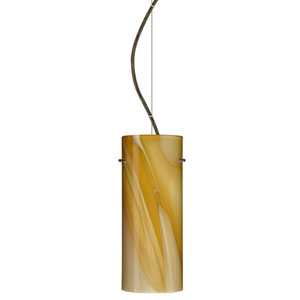 Stilo Bronze One-Light Incandescent 120v Mini Pendant with Dome Canopy, Cable, and Honey Glass