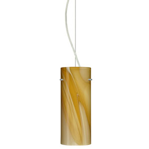 Stilo Satin Nickel One-Light Incandescent 120v Mini Pendant with Dome Canopy, Cable, and Honey Glass