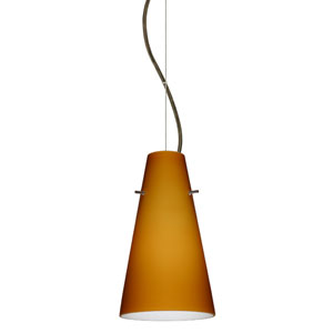 Cierro Bronze One-Light Incandescent 120v Mini Pendant with Dome Canopy, Cable, and Amber Matte Glass