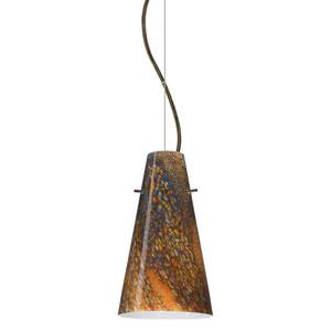 Cierro Bronze One-Light Incandescent 120v Mini Pendant with Dome Canopy, Cable, and Ceylon Glass