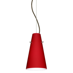 Cierro Bronze One-Light Incandescent 120v Mini Pendant with Dome Canopy, Cable, and Ruby Matte Glass